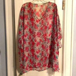 Oversized Sheer Floral Tunic